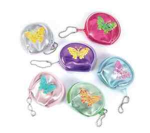 12 Coin Purse Butterfly Keychain Birthday Kids Party Favors Princess Girls Gift