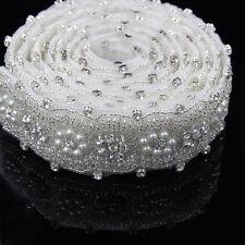 1 Yard Silber Strass Perlen Blumen nähen Braut Applikation Handwerk Kleidung NEU