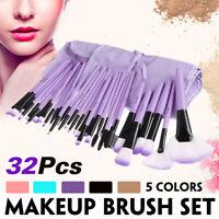 Professional 32 Piece Kabuki Make Up Brush Set and Cosmetic Brushes Case