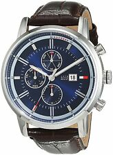 Tommy Hilfiger Original 1791244 Men's Brown Crocodile Leather Watch 44mm