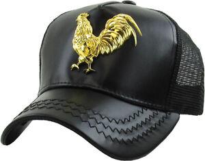 Rooster Gold Metallic Emblem PU Leather Mesh Baseball Cap Hat