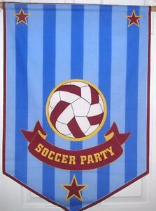 Pottery Barn Kids SOCCER PARTY Wall BANNER Sign Sport 23 x 35L Birthday NEW