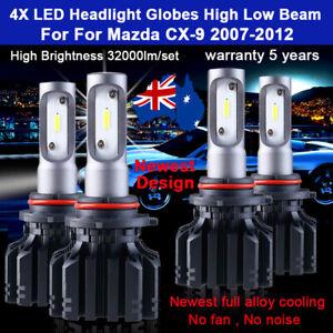 For Mazda CX-9 CX9 2010 2011 4x Headlight Globes High Low Beam LED Bulb lamp Set