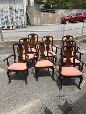 8 Councill Queen Anne Style Mahogany Arm Dining Chairs Williamsburg ~ Cape Cod