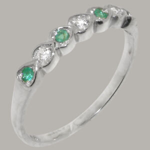 Solid 18ct White Gold Cubic Zirconia & Emerald Womens Eternity Ring