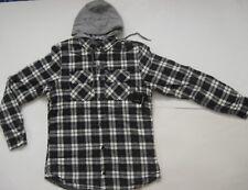 GLOBE Alford Hooded Sportshirt Flannel Shirt Check Plaid Blue Black White Small