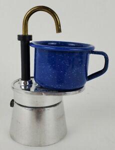 Bialetti 1 Mini Express Tazza One Cup Coffee Maker 2 Mini Blue Camping Mugs