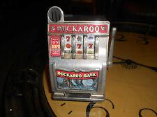 Vintage Coin Bank Slot Machine Buckaroo slot bank works cast metal front