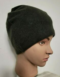 # 100% PURE CASHMERE HAT BEANIE MENS WOMENS HANDMADE LARGE OLIVE GREEN 136