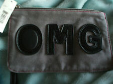 Gray and Black OMG Zipper Wristlet Pouch Gr8 for Makeup Cell Phone School Cute!