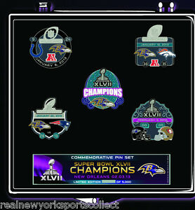 BALTIMORE RAVENS SUPER BOWL XLVII 47 CHAMPIONS 5 PIN SET CHAMPS RAY LEWIS FLACCO