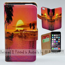 Wallet Phone Case Flip Cover for iPhone 6 Plus / 6S Plus - Beach Summer Sunset