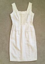 BNWT Mariella Rosati Linen 'Poiret' Sleeveless Dress In Cream - UK 10