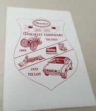 1895 - 1995 WOLSELEY 100 Years Centenary STICKER