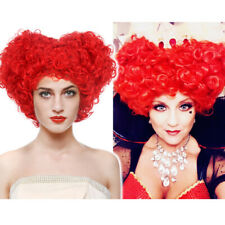 Queen of Hearts Wig Red Curly Beehive Hair Women Halloween Cosplay Anime Party
