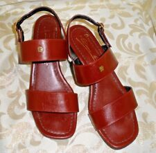 VTG ETIENNE AIGNER BURGUNDY STRAPPY Slip-On SLINGBACK SLIDES Sandals SZ 5.5 M