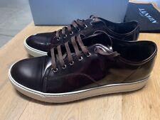 NWB- Lanvin Cap Toe Burgundy Glossy Calfskin Low Top Sneakers Mens 11. $760.