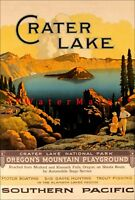 Crater Lake Oregon 1923 Southern Pacific Railways Vintage Poster Print Retro Art