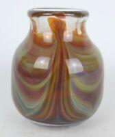 Vintage Early Hugh Jenkins 1977 Signed Hand Blown Art Glass Pulled Swirl Vase