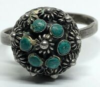Vintage Sterling Silver Ring 925 Size 5.5 Adjustable Turquoise Mexico
