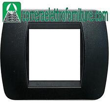 BTICINO LIVING placca 2 moduli posti plastica acciaio scuro L4802PA