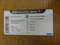 15/12/2012 Ticket: Newcastle United v Manchester City  (light fold). Footy Progs