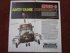 7/1982 PUB WESTLAND HELICOPTERS BATTLEFIELD LYNX-3 HOT TOW ANTICHAR ORIGINAL AD