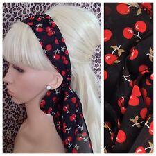BLACK RED CHERRY HAIR SCARF HEAD BAND SELF TIE BOW 50s 60s RETRO FANCY DRESS