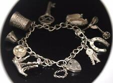 VINTAGE 925 STERLING SILVER 8 CHARM BRACELET with HEART PADLOCK CLASP  / W 985