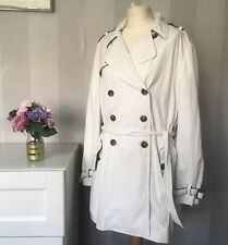 Jaeger Ladies White Classic Belted Trench Coat Contrast piping , Size Large