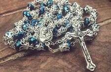Long Catholic Rosary Deep Blue Crystal Beads Prayer Necklace Holy Medal & Cross