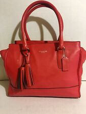 coach handbags used large pre-owned Leather Satchel Shoulder Coral