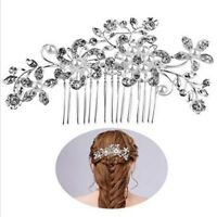 Flower Wedding Bridal Hair Comb Diamante Crystal Pearl Clip Slide Hairpiece Prom