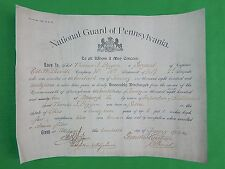 Us 1902 National Guard of Pennsylvania Honorable Discharge Document Paper