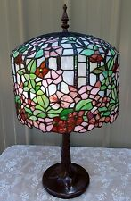 """26"""" TIFFANY STYLE STAINED GLASS FLORAL APPLE BLOSSOM LAMP"""