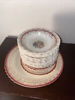 Antique French Saxon China Union Made 22Kt Gold Floral Plates & Bowls USA