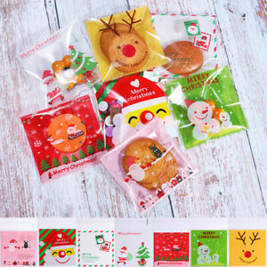 100x Christmas Candy Bag Cookie Treat Gift Xmas Party Wrapping Self Adhesive Bag