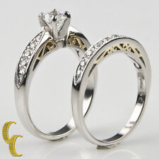 Platinum & 18 Yellow Gold Diamond Wedding Ring Set Size 6.75 TDW = 1.00 ct