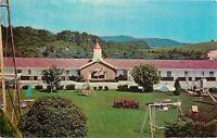 Marion Virginia~Village Motel & Restaurant~Swingset~Slide~1950s Postcard