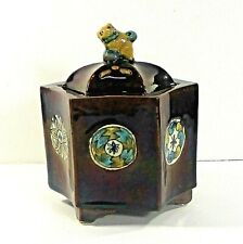 "Kutani 6-sided china pot w foo dog lid incense-potpouri hand painted 4.5"" ʱ n4"