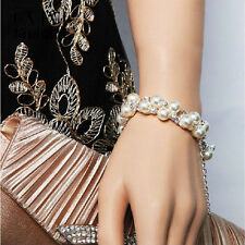 Womens Fairy Pearl Zircon Rose Gold Bracelet Chain Bangle Lady Jewelry Gifts