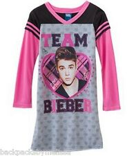 Justin BIEBER L/S Nightgown Pajamas Pjs Girl's 10/12 NEW Pink Gray TEAM BIEBER