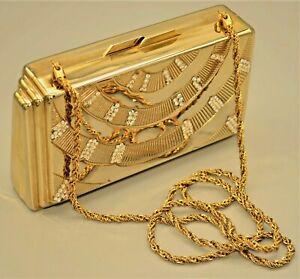 Saks Fifth Avenue Original Vintage Retro Gold Rhinestone Handbag Clutch Purse