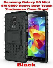 Black Samsung Galaxy S5 Mini G800 Strong Heavy Duty Tradesman Case Cover Stand