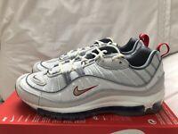 Nike Air Max 98 Summit White Metallic Silver Men's Size 9.5 New