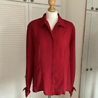 Ship n Shore Striped Blouse Size 16 Vintage Red Black Collared Button Up Mod