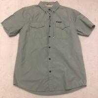 Field & Stream Button Up Shirt Men's Medium Short Sleeve Green Casual Fishing