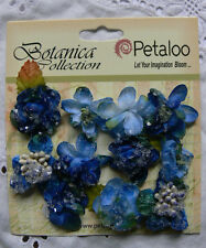 Vintage Velvet Mini Blue X 9 Fabric Flowers 25-30mm Petaloo C