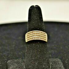 10k Yellow Gold Band with Diamonds.  Size 7.5