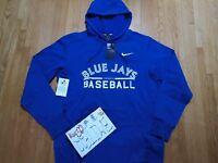 NWT Toronto Blue Jays Nike MLB Men Blue GM Therma Hoodie Pullover Jacket XL